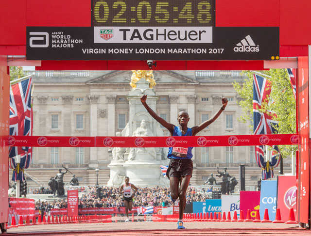 Daniel Wanjiru KEN crosses the line to win the Elite Men's Race. The Virgin Money London Marathon, 23rd April 2017.
