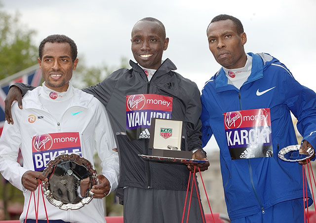 Daniel Wanjiru KEN, Kenenisa Bekele ETH and Bedan Karoki Muchiri KEN pose with their respective winning salvers at the Elite Men's Race Presentation. The Virgin Money London Marathon, 23rd April 2017.Photo: Jed Leicester for Virgin Money London Maratho