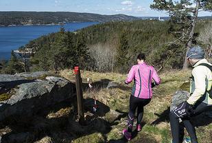 Med sol fra tilnærmet skyfri himmel var det idyllisk utover Iddefjorden for de 74 som løp Monolittløpet. (Alle foto: Bjørn Johannessen)