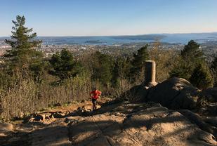 Etter to kilometer og 200 høydemeter kommer du til toppen av Vettakollen. (Foto: Erling Pande Braathen)