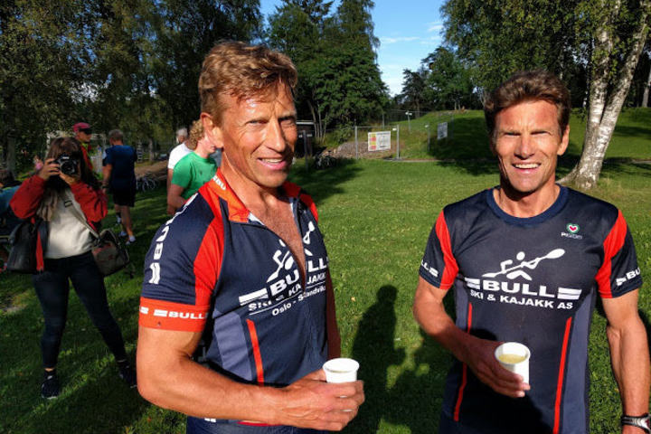 Brødrene Engebretsen tar dobbeltseier i Sognsvann Rundt Medsols august 2016.  Foto: Heming Leira