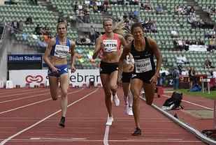 Amalie Sæten  under Bislett Games for snaue to måneder siden. (Foto: Bjørn Johannessen)