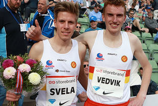 Hybelkameratene: Vinner Per Svela og Marius Vedvik er treningskamerater og bor begge to i Gular-huset i Bergen. (Foto: Kjell Vigestad)