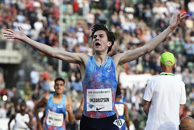 Et av de store høydepunkta under årets Bislett Games var seieren og aldersrekorden til Jakob Ingebrigtsen på 1 engelsk mile. (Foto: Bjørn Johannessen)