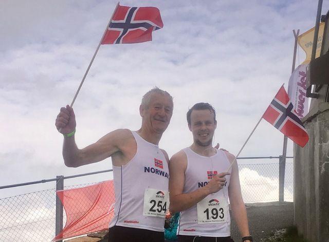 Per Gunnar Kvenseth og Nikolai Vogt-Andersen Kvenseth har nådd toppen på verdens hardeste trappeløp i Sveits.