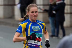 Heidi Pharo stanser klokka på 36.10 og vinner Karlstad Stadslopp. (Arkivfoto: Sylvain Cavatz)