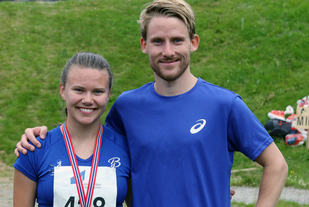 Ane Brekke og Eivind Øygard rett etter målgang