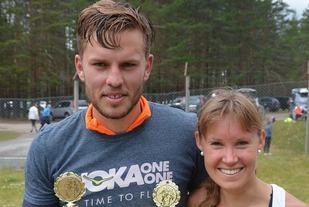RASKEST: Ola Korbøl, Mosvik, og Monika Kørra, Ren-Eng var raskest i årets Risberget Rundt. (Foto: Trond Øsmundset)