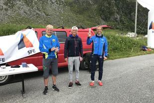 De tre beste i herreklassen. F.v. Joel Dyrhovden (2. plass), Sondre Øvre-Helland (3. plass) og Thorbjørn Ludvigsen (vinner). (Foto: Gisle Skjølberg)