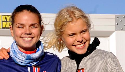 Stine Wangberg (til venstre) og Christine Næss er begge tatt ut til å løpe 5000 m i junior-EM. (Foto: Arne Dag Myking)