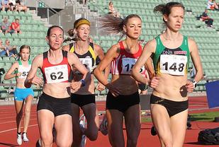 3000m damer Silje Fjoertoft, Live_Solheimdal, Vienne_Dahle, Tessa_Frenay, Emma_Kirkeberg Mørk. Foto: Kjell Vigestad