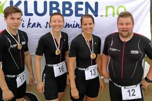 Kvartetten fra Klubben på Flisa som debuterte i triathlon på Finnskogen med følgende melding på sin Instagramkonto: Første triathlon gjennomført, gav mersmak! Triathlon-miljøet er fantastisk, folk heier hverandre opp! Vi gleder oss til neste utfordring!