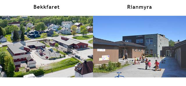 Bilde av de to husene, i nye Orkanger barnehage