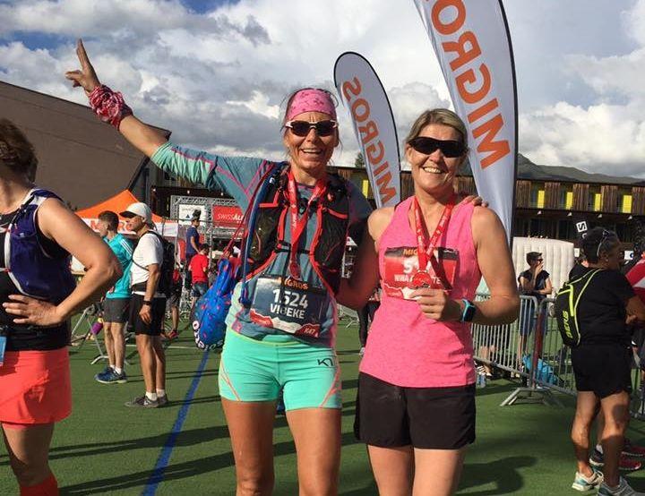 Vibeke Weglo og Nina Anette Hongseth var to av de norske deltagerne i årets Swiss Alpine. (Privat foto)