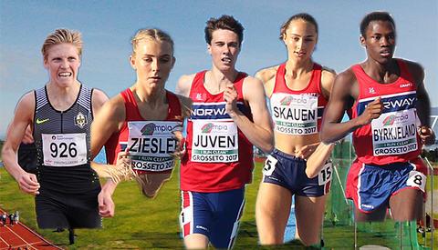 Mulige kandidater til å bli junior-norgesmestere på løpsøvelsene i friidrett i år: Simen Halle Haugen, Camilla Ziesler, Sondre Juven, Karoline Skauen og Thomas Jefferson Byrkjeland.