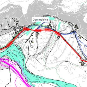 Skisse over ny spillvannsledning mellom Ler og Kvål