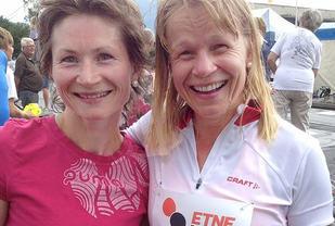 Damevinnerne i Etne Duathlon de tre første årene: T.v. Maryna Novik, som har løyperekorden, og Kirsten Lien, som vann andre året.