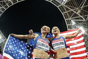 Emma Coburn og Courtney Frerichs kunne juble for amerikansk dobbeltseier. (Foto: Bjørn Johannessen)