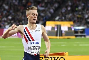 Filip Ingebrigtsen var letta og glad over å være finaleklar. (Foto: Bjørn Johannessen)