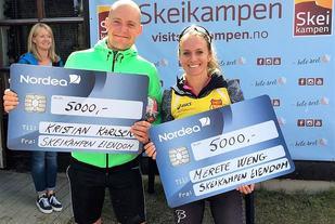 Totalvinnerne Kristian Karlsen og Merete Weng med dagens bonus i Skeikampen Rundt. (Foto: Jan Erik Bakken)