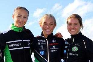 Premiepallen for 1500-meter i junior-NM:  Karoline Skauen, Camilla Ziesler, Kristine Lande Dommersnes