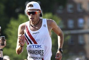 Håvard Haukenes hadde ingen god dag. Etter 30 km fikk han sin tredje advarsel med tilhørende diskvalifikasjon. (Foto: Bjørn Johannessen)