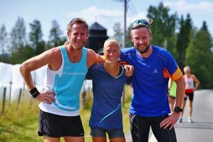 De tre raskeste rundt Skrukkelisjøen var fra venstre Runar Sannerud, Marthe Katrine Myhre og Amund Hognestad Jensen. (Foto: Bjørn Hytjanstorp)