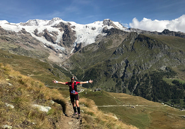 Elise Hay Opsahl løp 120 km på tre dager i Ultra Tour Monte Rosa i Sveits. (Foto: Christian Hay Opsahl)