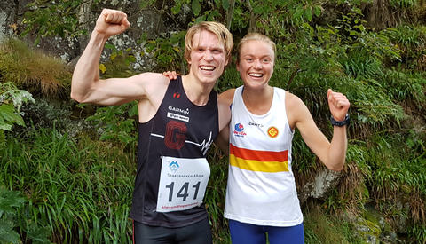 De to vinnerne i dagens løp i Ålesund, Asgeir Bakken Rognstad og Ingrid Festø. Foto: Sigbjørn Lerstad