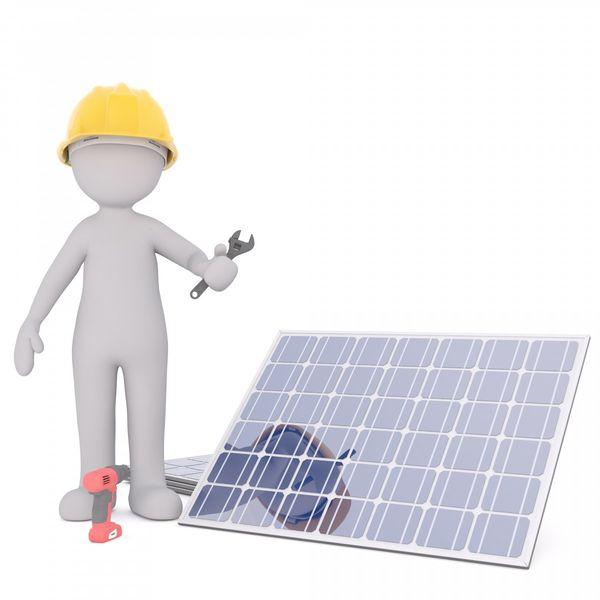 Animert 3D mann som monterer solcellepanel