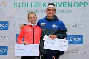 Karoline Holsen Kyte og Stian Øvergaard Aarvik ble beste kvinne og mann i årets Stoltzekleiven Opp