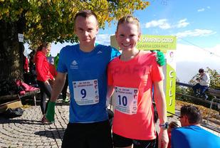 Karoline og Johan fotografert like etter løpet i målområdet for Smarna Gora international Mountain Race i Ljubljana i Slovenia.