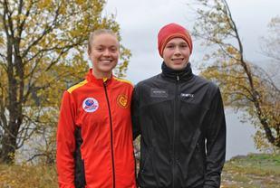 Ingrid Festø, Gular og Håkon Stavik, Ålesund Friidrettsklubb vant og satte nye løyperekorder. Foto: Martin Hauge-Nilsen