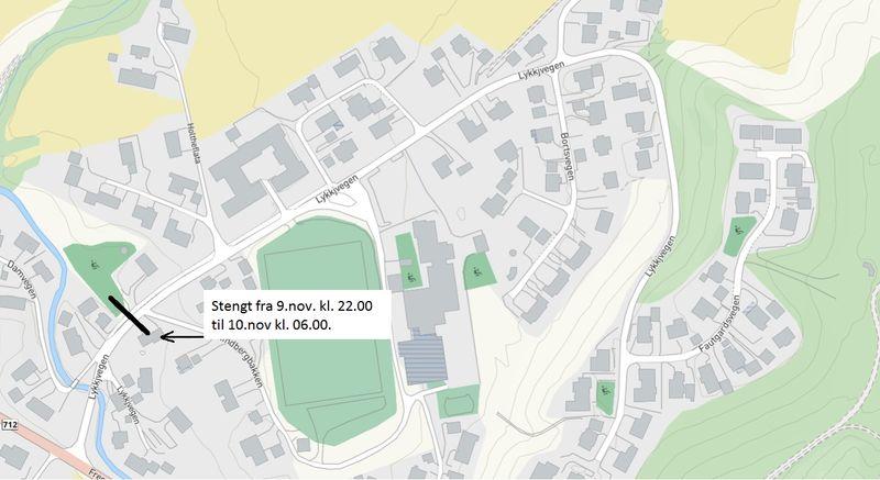Kart som viser stenging ved Lykkjvegen 6, 9. november.