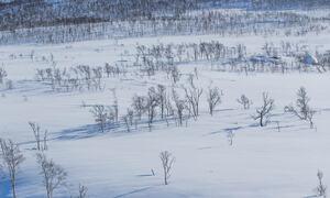 To skiløpere med spanstinden som bakgrunn