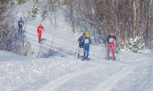 Konkurranseskiløpere i farta