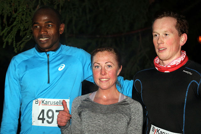 Salim Yousif, Eli Anne Dvergsdal og Sondre Arne Hoff etter endt løp