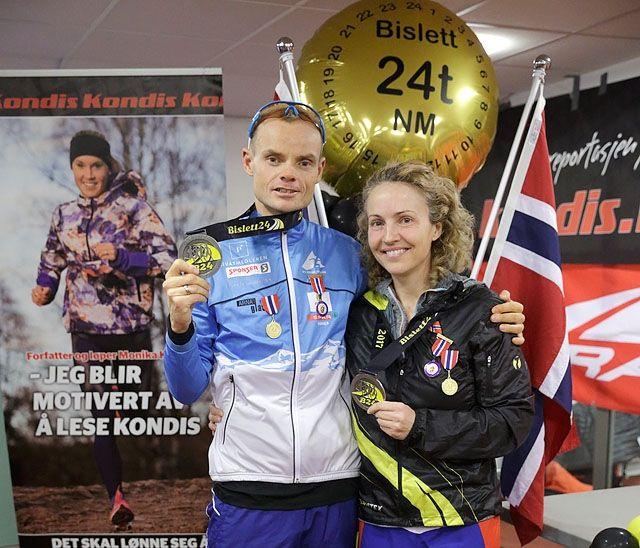 Bildet er fra november 2017 da Therese Falk og Bjørn Tore Kronen Taranger vant NM 24-timers. Nå er begge kåret til Årets Ultraløper 2018. (Foto: Per Inge Østmoen)