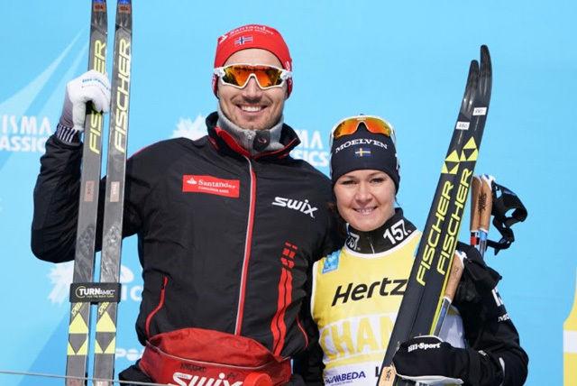 Andreas Nygaard, Team Santander og Britta Johansson Norgren, Lager 157 Ski Team vant sesongens andre renn i Ski Classics. Foto: Magnus Östh