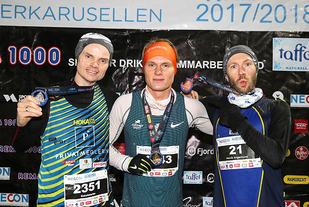 Premiepallen for herrenes 10 km: Bjørn Tore Kronen Taranger, Sondre Øvre-Helland, Henrik Angermund.