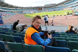 Livet som Kondis-reporter på Nya Ullevi under Världsungdomsspelen.