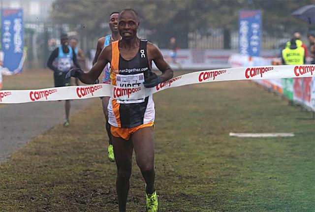James Kibet fra Kenya vant Campaccio Cross Country på 29.34. Sondre Nordstad Moen var 26 sekunder bak på en sjuendeplass. (Foto: arrangøren)