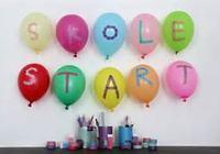 """Bilde av ballonger med skrift """"Skolestart"""""""