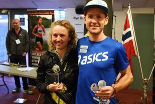 Therese Falk og Didrik Hermansen fra utdelingen av Årets Ultraløper 2016. (Foto: Anders Tøsse)