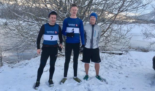 De tre beste i dagens Rotevatnet Rundt. Fra venstre, Leif Sægrov (2. plass), Jørgen André Førde (vinner) og Steffen Kråkevik (nummer tre). Foto: Elin Burås Sylte