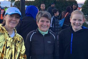 Oddny Ringheim, Vera Nystad og Tone Raaen løp den lengste distansen i Marrakech Marathon. (Foto: privat)