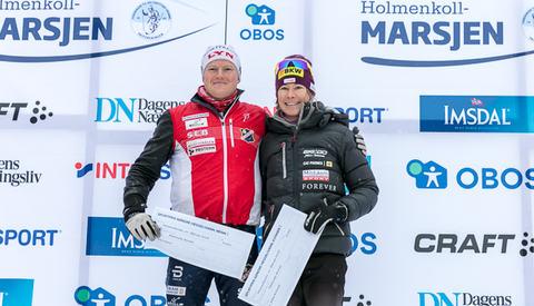 Totalvinnerne av Holmenkollmarsjen 2018: Joar Thele og Seraina Boner. (Foto: Stian Schløsser Møller)