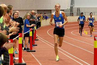Trond Einar Moen Pedersli imponerte stort med å løpe 3000 meteren på 8.12,2 i Trøndersk Vinterkarusell. (Foto: Trond Einar Brobakk)