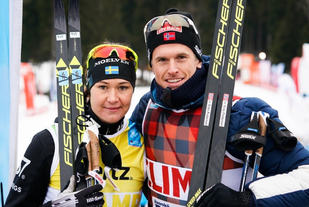 Britta Johansson Norgren, Lager 157 Ski Team og Morten Eide Pedersen, Team BN Bank. Foto: Magnus Östh