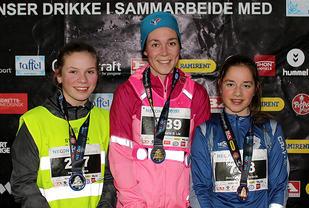 Premiepallen på kvinnenes 5 km: Ingrid F. Havre, Inger-Marie S. Lie, Annike Meyer-Torsvik.